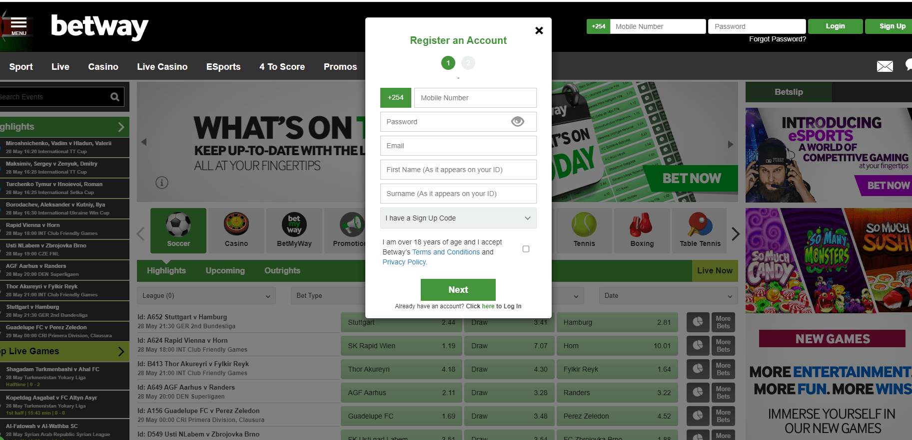 Betway Kenya Login and Register